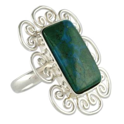 Artisan Crafted Chrysocolla and Sterling Silver Ring