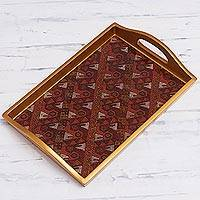 Reverse painted glass tray, 'Paracas Birds' - Painted Glass Handcrafted Copper Color Tray
