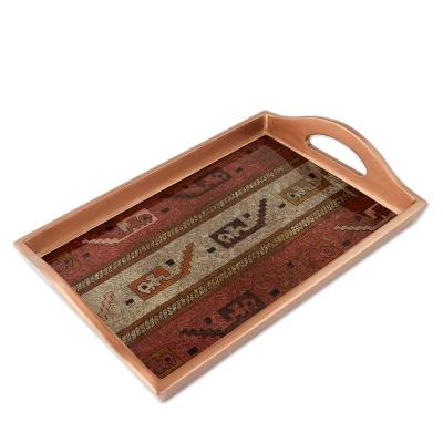 ad0027a456a5 UNICEF Market | Painted Glass Handcrafted Tray - Chancay Sea