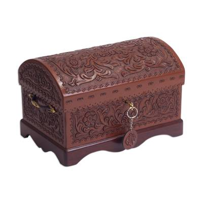 Leather and mohena wood jewelry box, 'Treasure Chest' - Peruvian Tooled Leather Chest for Jewelry