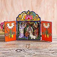 Wood and ceramic nativity scene, 'Andean Christmas Carol' - Hand Made Andean Nativity Scene