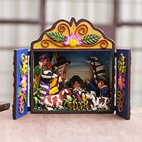 Wood and ceramic nativity scene, 'Andean Christmas Celebration'