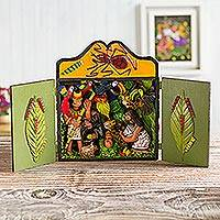 Wood and ceramic nativity scene, 'Shipibo Christmas' - Fair Trade Christmas Folk Art Nativity Scene