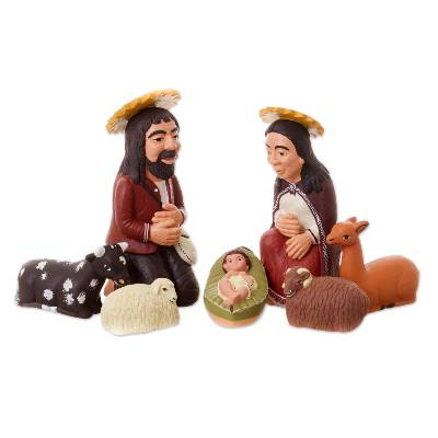 Ceramic nativity scene, 'The Holy Family in Peru' (7 pieces) - 7 Piece Ceramic Nativity Scene from Peru
