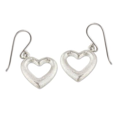 Sterling silver heart earrings, 'Love's Anchor' - Fair Trade Jewelry Sterling Silver Earrings