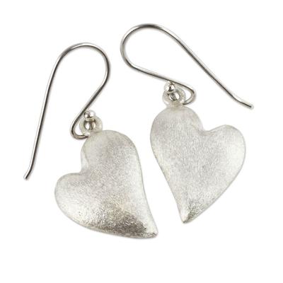 Sterling silver heart earrings, 'Strong Hearts' - Sterling Silver Heart Earrings