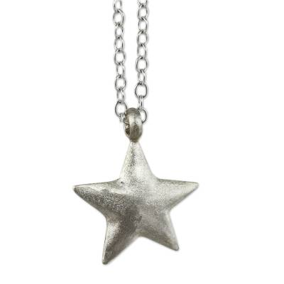 Sterling silver pendant necklace, 'Wishing Star' - Brushed Satin Sterling Silver Necklace