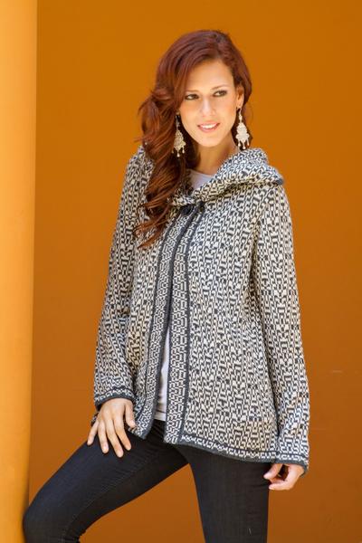 Alpaca blend cardigan, 'Snow Princess' - Gray and White Alpaca Blend Cardigan Sweater