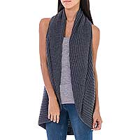 Alpaca blend sleeveless cardigan, 'Gray Caress' - Gray Alpaca Blend Sleeveless Cardigan