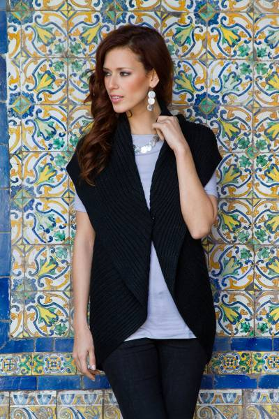 Alpaca blend sleeveless cardigan, 'Ebony Caress' - Black Alpaca Blend Sleeveless Cardigan