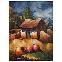 'Water Jars II' - Nostalgic Peruvian Village Scene Painting