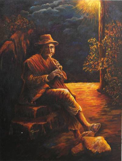 Midnight Flute Player Peruvian Painting, 'Melodies II'