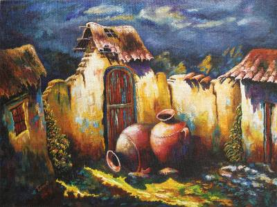Unicef Uk Market Original Peruvian Oil Painting Roof Tiles