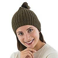 Alpaca blend hat, 'Andean Forest' - Alpaca Knit Green Hat from Peru