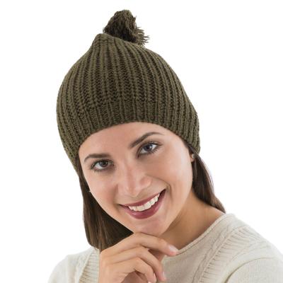 Alpaca Knit Green Hat from Peru
