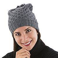 Alpaca blend hat, 'Lima Mist' - Alpaca Blend Grey Knitted Hat from Peru