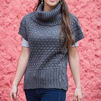 Alpaca blend sweater, 'Cuzco Coquette' - Grey Alpaca Blend Turtleneck Sweater