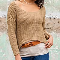 Alpaca blend sweater, 'Nazca Dunes' - Tan Alpaca Wool Blend Handcrafted Sweater