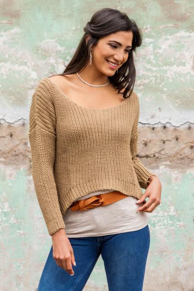 Alpaca blend sweater, 'Nazca Dunes' - Beige Alpaca Blend Sweater