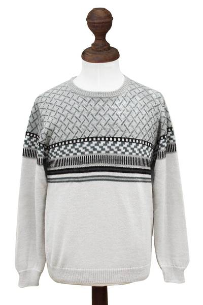 Men's 100% alpaca sweater, 'Renewal' - Men's Alpaca Wool Pullover Sweater