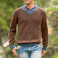 Men's alpaca blend sweater, 'Orcopampa Prowler' - Andean Brown and Blue Alpaca Blend Men's Sweater
