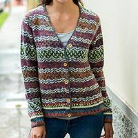 100% alpaca cardigan, 'Rainbow Mist' - V-neck Alpaca Cardigan with Cedar Buttons