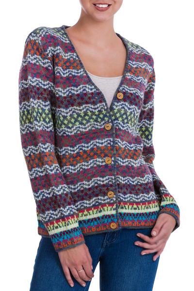 100% alpaca cardigan, 'Rainbow Mist' - V-neck Alpaca Cardigan with Cedar Buttons