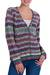 100% alpaca cardigan, 'Rainbow Mist' - V-neck Alpaca Cardigan with Cedar Buttons thumbail