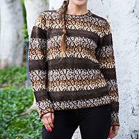 100% alpaca sweater, 'Earth Bouquet' - Floral Alpaca Sweater in Brown and Grey