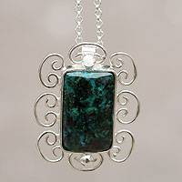 Chrysocolla pendant necklace, 'Lace Window' - Handmade Chrysocolla Necklace with Sterling Silver
