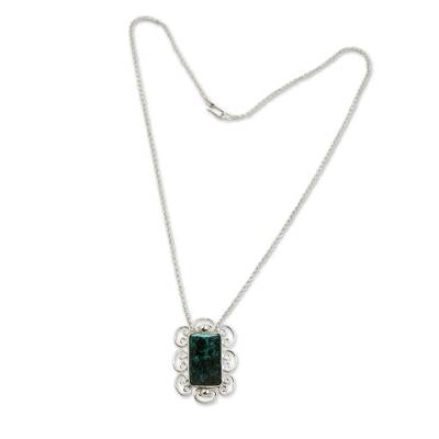 Handmade Chrysocolla Necklace with Sterling Silver