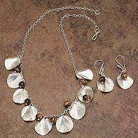 Tiger's eye jewelry set, 'Fruit of Harmony' - Handcrafted Sterling Silver jewellery Set with Tiger's Eye