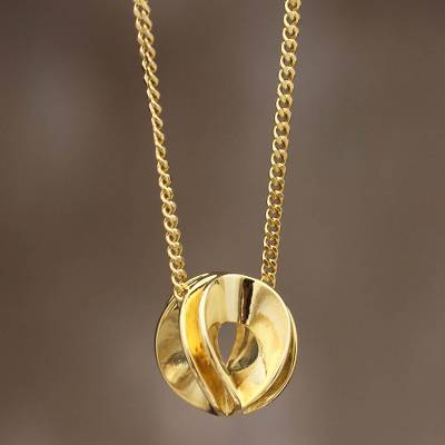 Gold plated pendant necklace, 'Natura' - Original Gold Plated Necklace