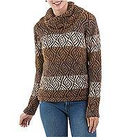 100% alpaca sweater, 'Leaf Shadow'