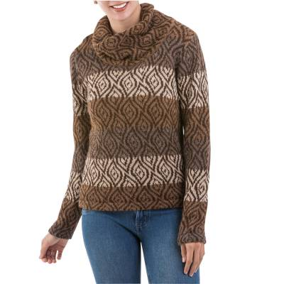 100% alpaca sweater, 'Leaf Shadow' - Leaf Motif Turtleneck Sweater in Browns and Beige