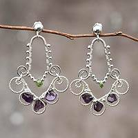 Amethyst and peridot chandelier earrings, 'Bells' - Handmade 950 Silver Earrings with Amethyst and Peridot