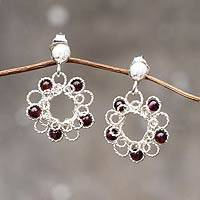 Garnet flower earrings, 'Blossoms for Maria' - Free Trade Garnet Flower Earrings