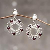 Garnet flower earrings, 'Blossoms for Maria'