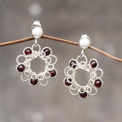 Garnet flower earrings, 'Blossoms for Maria' - Free Trade Garnet Flower Earrings