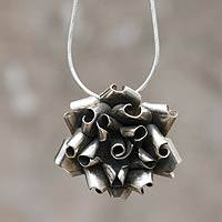 Sterling silver flower necklace, 'Andean Rose'