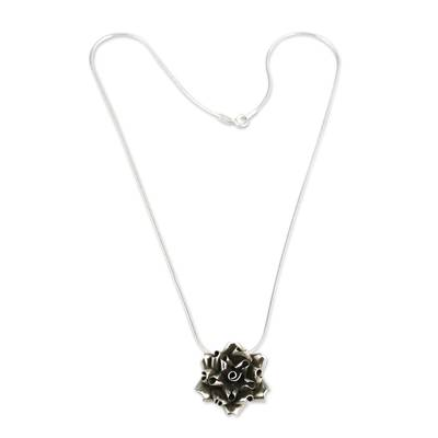 Sterling silver flower necklace, 'Andean Rose' - Handmade Silver Rose Necklace