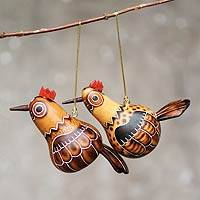 Mate gourd ornaments, 'Feathered Love' - Hen and Rooster Handcrafted Mate Gourd Ornaments