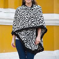 Alpaca blend ruana, 'Leaves' - Soft Alpaca Blend Ruana Cloak in Black and White