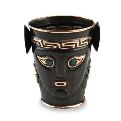 Bronze and copper vase, 'Ceremony' - Inca Replica Bronze and Copper Vessel Vase