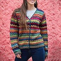 100% alpaca cardigan, 'Ayacucho Breeze' - Colorful Alpaca Cardigan with Coconut Shell Buttons