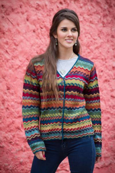 100% alpaca cardigan, 'Ayacucho Breeze' - Colorful Alpaca Cardigan with Coconut Shell Buttons