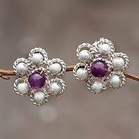 Amethyst flower earrings, 'Button Blossom' - Peruvian Fine Silver and Amethyst Button Earrings