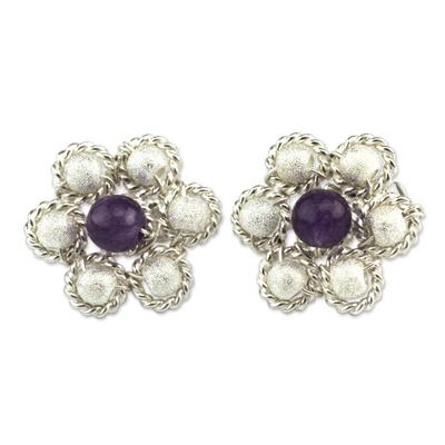 Amethyst Floral Button Earrings