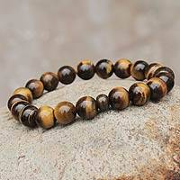 Tiger's eye and ceramic stretch bracelet, 'Inner Fire' - Artisan Crafted Tigers Eye and Ceramic Stretch Bracelet