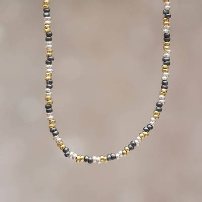 Gold accent beaded necklace, 'Natural Elegance' - Hand Made Sterling Silver Beaded Necklace with 18k Gold